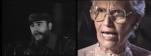 Figuras 3 y 4. Imágenes de Los que se quedaron (Benito Zambrano, 1993). A la izquierda una imagen de archivo documental de Fidel Castro, incluida en el film, y a la derecha el primer plano de Carmen Barreras.