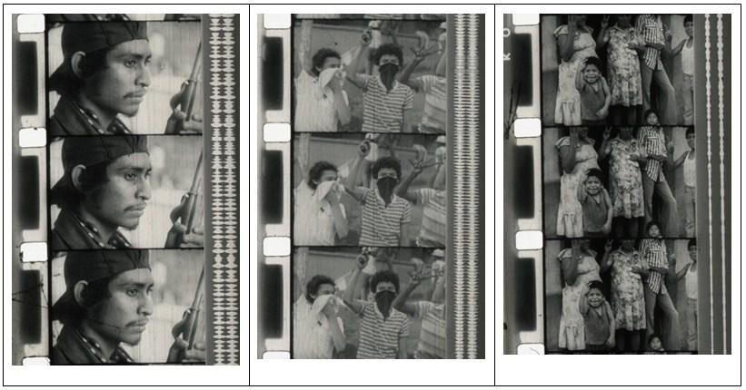 """Figura 4. Miliciano sandinista. Carrasco y Gabriel, ¿Cúal es la consigna?, 1978, México. [Fotograma Archivo ENAC (CUEC)] Figura 5. Niños encapuchados. Carrasco y Gabriel, ¿Cúal es la consigna?, 1978, México. [Fotograma Archivo ENAC (CUEC)] Figura 6. Niño haciendo con la mano la """"V"""" de la victoria. Carrasco y Gabriel, ¿Cúal es la consigna?, 1978, México. [Fotograma Archivo ENAC (CUEC)]"""