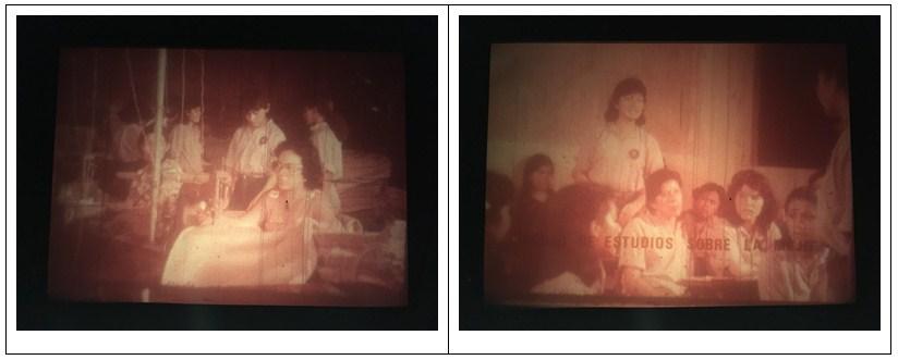 """Figura 7. Obreras de fábrica textil. Carrasco, La mujer en la revolución nicaragüense, 1980, México. [Fotograma Archivo ENAC (CUEC)] Figura 8. Mujer participando en un """"Círculo de estudios sobre la mujer"""". Carrasco, La mujer en la revolución nicaragüense, 1980, México. [Fotograma Archivo ENAC (CUEC)]"""