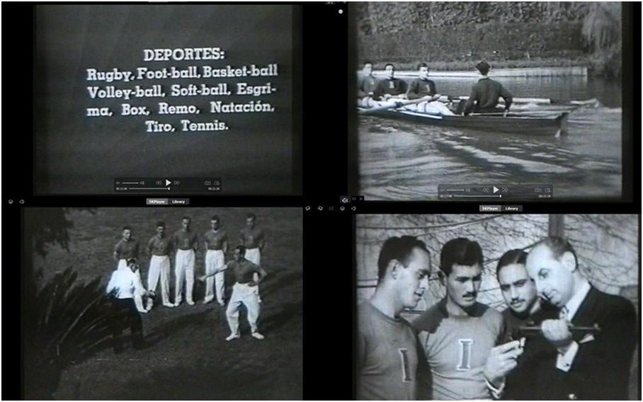 Figura 4. Placa intertítulo y fotogramas de clase sobre deportes (MuBAH, 1999).
