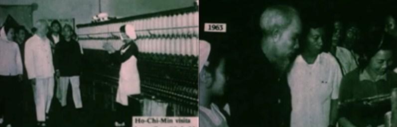 Figura 1 – Visita de Ho Chi Minh a una fábrica de tejidos. Fuente: Fotogramas de la película