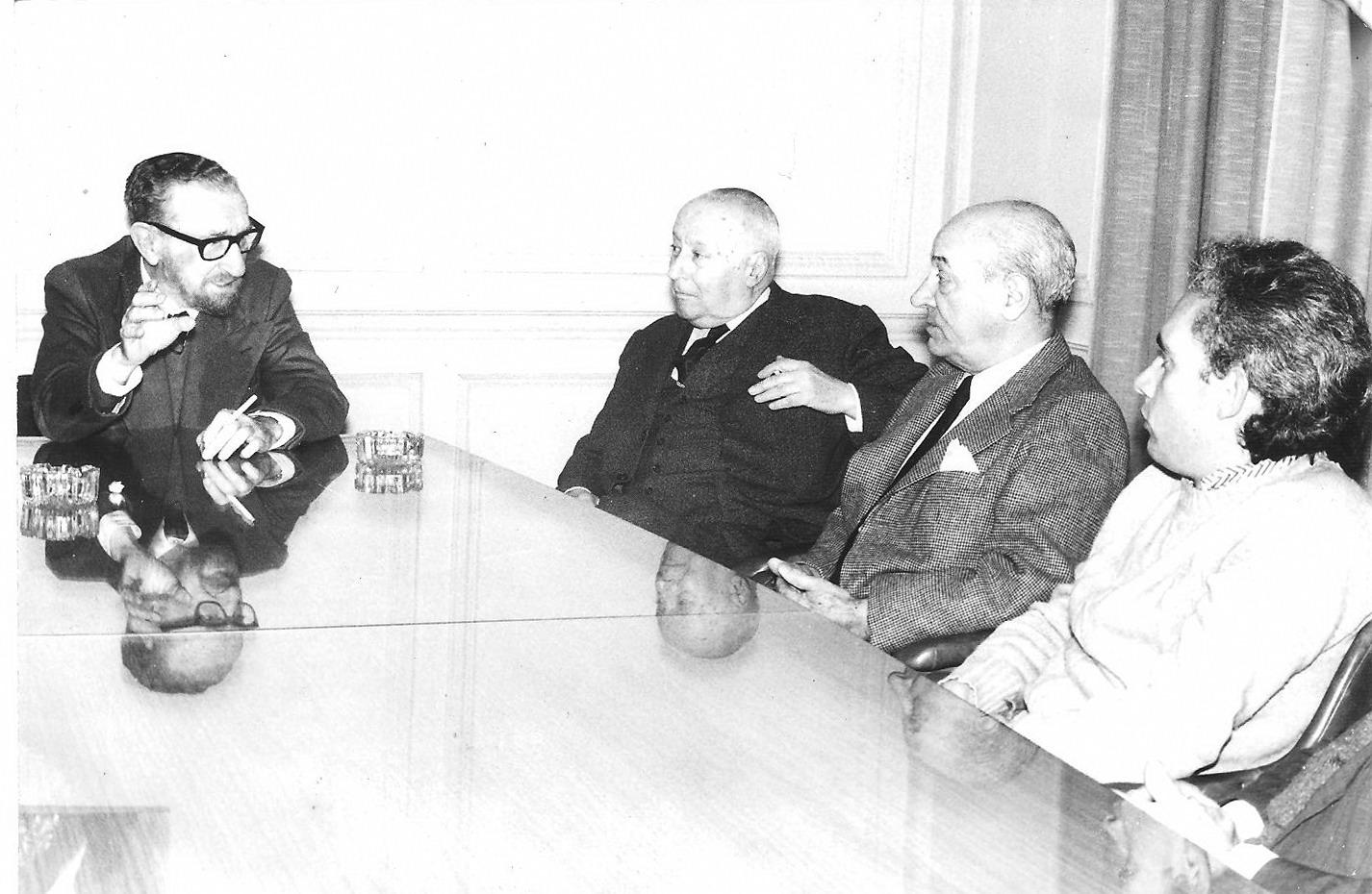 Con Mario Soffici en la elaboracion Proyecto Ley Cine 1973