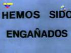 Pueblo de Lata: Cartel que recuerda a los utilizados en La hora de los hornos.
