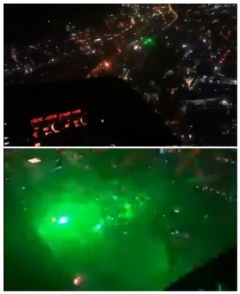Figura 5. Manifestantes usan láseres contra helicóptero policial (RT, 2019)