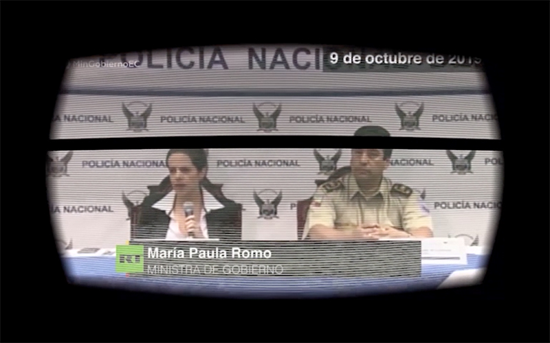Figura 1. Fallo de código, fallo de sistema: la ministra María Paula Romo con efecto glitch