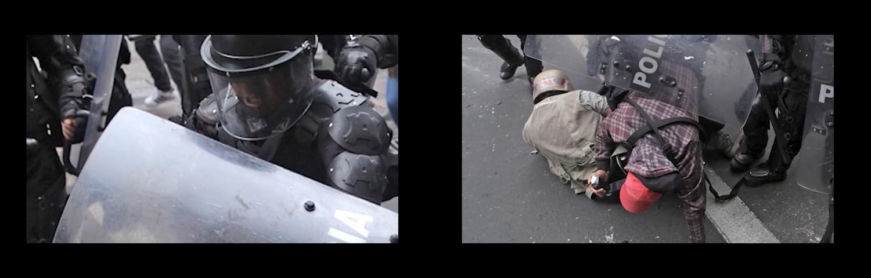 Figuras 4-5. Imagen-exploración que muestra el movimiento descendente del rostro del policía al cuerpo del periodista