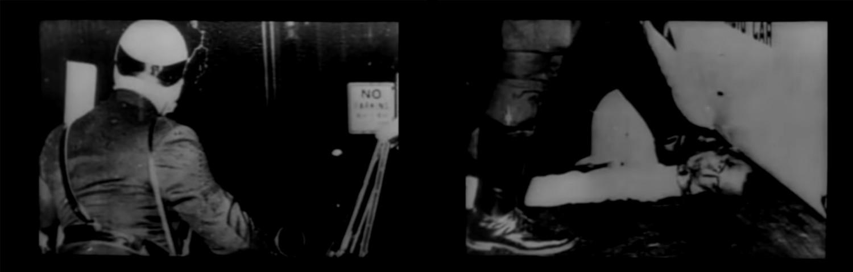 Figuras 6-7. Now! (Santiago Álvarez, 1965): imagen-exploración que muestra el movimiento descendente del rostro del policía al cuerpo del periodista