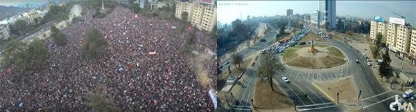 """Figura 1. A la izquierda, vista de la Plaza de la Dignidad durante la denominada """"marcha más grande"""", 25 de octubre de 2019. A la derecha, misma vista, con fecha 11 de junio de 2020, en cuarentena. Fotos: Captura de pantalla de la Galería CIMA."""