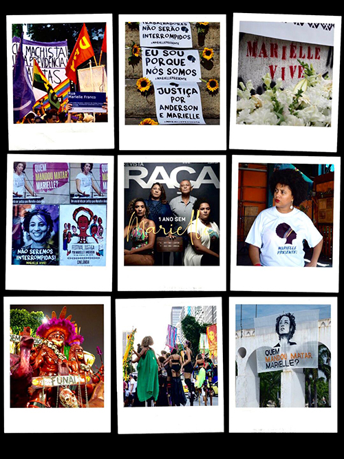 Fig. 1. Collage de diversas expresiones sociales reclamando justicia para Marielle Franco.